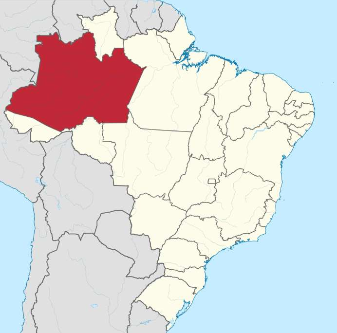 Ubicación del estado de Amazonas (Brasil) donde se desarrolla la acción de cooperación internacional de Fontilles. Foto cortesía de Wikipedia.