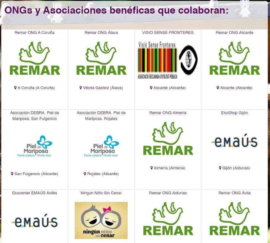 Algunas de las ONGs que colaboran con la Carta a los Reyes Magos Solidaria