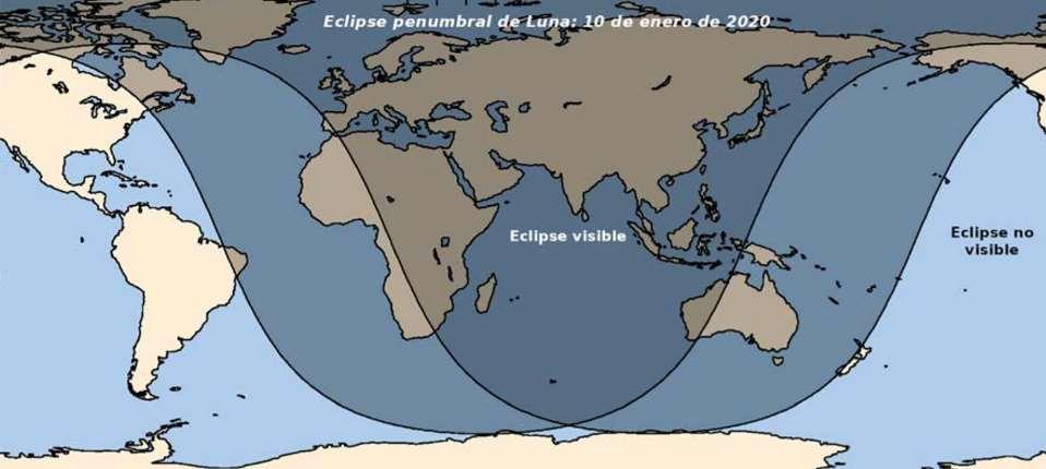 Zonas donde se podrá observar el eclipse del 10 de enero (en algunas regiones solo durante la salida de la Luna –Atlántico– o puesta –Pacífico–). / Foto: OAN-IGN
